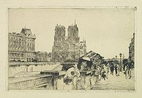 GRONDHOUT, W.A. -  Paris, Notre Dame and bridge over the Seine.