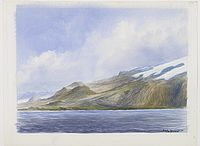 DE BOUNGNE, F. -  Group of watercolours of scenes in Iceland, included are vulcanos like Eyjafjallajokull, �r�faj�kull, etc.