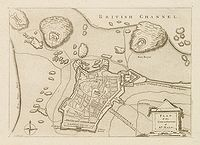 ANONYME. -  Plan of the city and castles of St Malo.