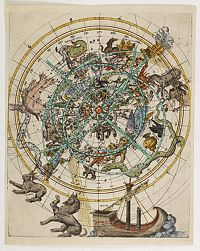 ANONYMOUS -  (Northern celestial planisphere with a pasted volvelle.)