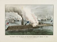 "CURRIER & IVES. - The Great Fight Between The ""Merrimac"" & ""Monitor"", March 9th 1862."