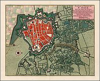 COVENS, J. / MORTIER, C. - Plan de La Ville de St. Omer Avec Les Forts des environs.