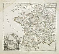 ROBERT DE VAUGONDY, G. -  Carte du Royaume de France. . . Les Routes des Postes.
