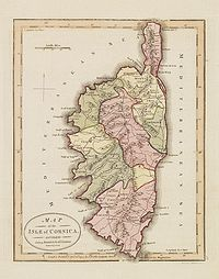 WALLIS, J. - Map of the Isle of Corsica, Divided into 9 Districts & 68 Cantons.